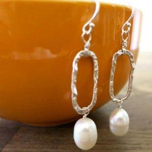 Sterling Silver Freshwater Pearl Dangle Earrings